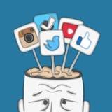Redes sociales en cerebro humano Fotografía de archivo libre de regalías