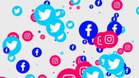 Redes sociales que vuelan iconos stock de ilustración