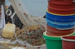 Redes y compartimientos, Lefkas, Grecia de Fisher Fotos de archivo