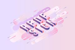 Redesign sign isometric design - letters on pastel background with gradient fluid color abstract geometric shapes. Redesign sign isometric design - letters on Royalty Free Stock Images