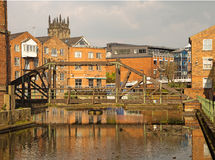 Redeveloped warehouses along the River Aire, Leeds Royalty Free Stock Photo