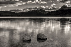 Redfish Lake in black and white. Royalty Free Stock Photography
