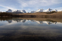 Redfish Lake Water Reflection Sun Valley Idaho Sawtooth Mountain Stock Photography