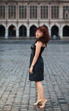 Redhair barefoot woman Royalty Free Stock Photography