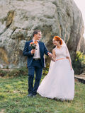 Redhair bride with happy groom walking and holding hands on background of Carpathian mountains Stock Image
