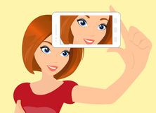 Redhair girl is taking selfie Stock Image