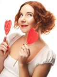 Redhair woman with big heart caramel Royalty Free Stock Photography