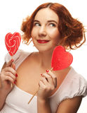 Redhair woman with big heart caramel Royalty Free Stock Images
