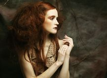 Redhair woman with bright creative make up Royalty Free Stock Photography