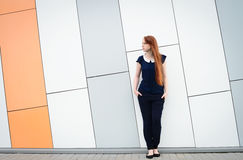 Redhair woman with freckles outside office break Royalty Free Stock Photography