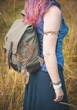 Redhair woman with linen backpack bag outdoor. Template mock up Stock Images