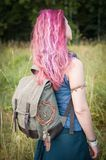 Redhair woman with linen backpack bag. Template mock up Royalty Free Stock Images