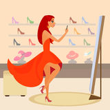 Redhair woman is taking a snapshot for social Stock Image