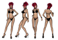 Redhaired Black Bikini Woman Royalty Free Stock Photo
