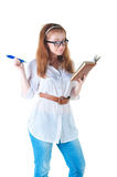 Redhaired businesswoman with notepad Stock Photography