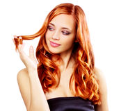 Redhaired girl isolated on white Stock Photo