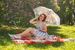 Redhaired pretty pinup woman in vintage summer dress and classic stockings with a seam in the back sits on a blanket on the grass royalty free stock images