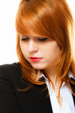 Redhaired sad business woman portrait Stock Photo