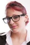 Redhaired sexy eighties secretary with glasses Stock Photos