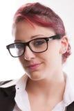 Redhaired sexy Sekretär der Achtziger Jahre mit Gläsern Stockfotos