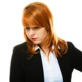 Redhaired smutny biznesowej kobiety portret Zdjęcie Royalty Free
