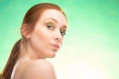 Redhaired vrouw van de schoonheid Stock Fotografie
