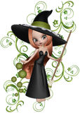 Redhaired Witch & Floral Vines. This was created with green metal textured floral vines. And, topped with a red haired witch holding a broom vector illustration