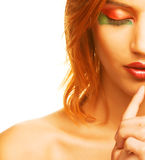 Redhaired woman over white background Stock Images