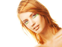 Redhaired woman over white background Royalty Free Stock Images