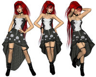 Redhaired Woman Poser. Three images of a sexy redhaired woman Royalty Free Stock Photo