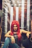Redhead αμερικανικό κορίτσι Στοκ Φωτογραφίες