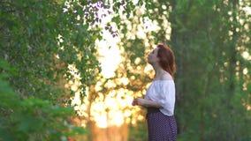 Redhead γυναίκα στα εσώρουχα και το άσπρο πουκάμισο που θέτουν - χώρα ηλιοβασιλέματος από το δρόμο με τις όμορφες ελαφριές ακτίνε φιλμ μικρού μήκους