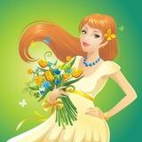 Redhead κορίτσι με τα λουλούδια Στοκ Φωτογραφία