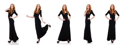 Redhead στο μαύρο φόρεμα που απομονώνεται στο λευκό Στοκ φωτογραφίες με δικαίωμα ελεύθερης χρήσης