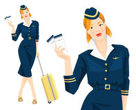 Redhead air hostess holding ticket in her hand Stock Images