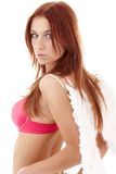 Redhead angel girl in pink lingerie Royalty Free Stock Images