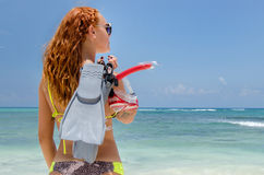 Redhead back with snorkel Royalty Free Stock Photo