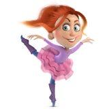 Redhead ballerina κοριτσιών χαρακτήρα κινουμένων σχεδίων Στοκ Εικόνες