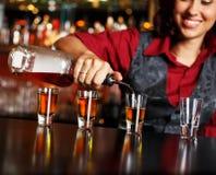 Redhead barmaid royalty free stock image