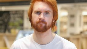 Redhead Beard Man Shaking Head to Reject Offer, No royalty free stock photography