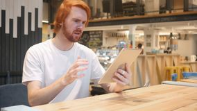 Redhead Beard Man Upset by Loss of Work Sitting in Laptop. 4k , high quality stock video footage