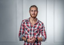 Redhead bearded male in colorful shirt. Portrait of redhead bearded male in colorful shirt on grey background Stock Photography