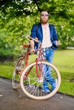 Redhead bearded male on a retro bicycle in a park. stock photography