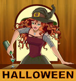Redhead beautiful pretty witch girl pours cocktails Halloween Stock Image