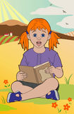 Redhead with a book. Vector illustration of a girl with a book, file EPS 10 Stock Illustration