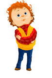 Redhead boy character cartoon style  illustration white Stock Images