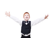 Redhead boy in vest, happy and surprised portrait isolated Stock Images