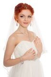 Redhead bride isolated on white Stock Images