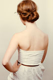 Redhead bride with romantic bun Royalty Free Stock Photography