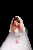 Redhead bride in a white dress Stock Photos